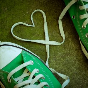 Sneakers with heart with filter effect retro vintage style.