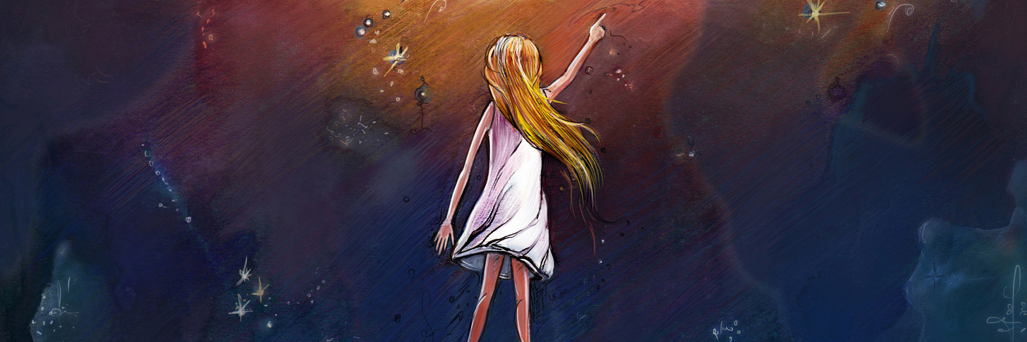 An illustration of a girl in a dark pit reaching up to the light