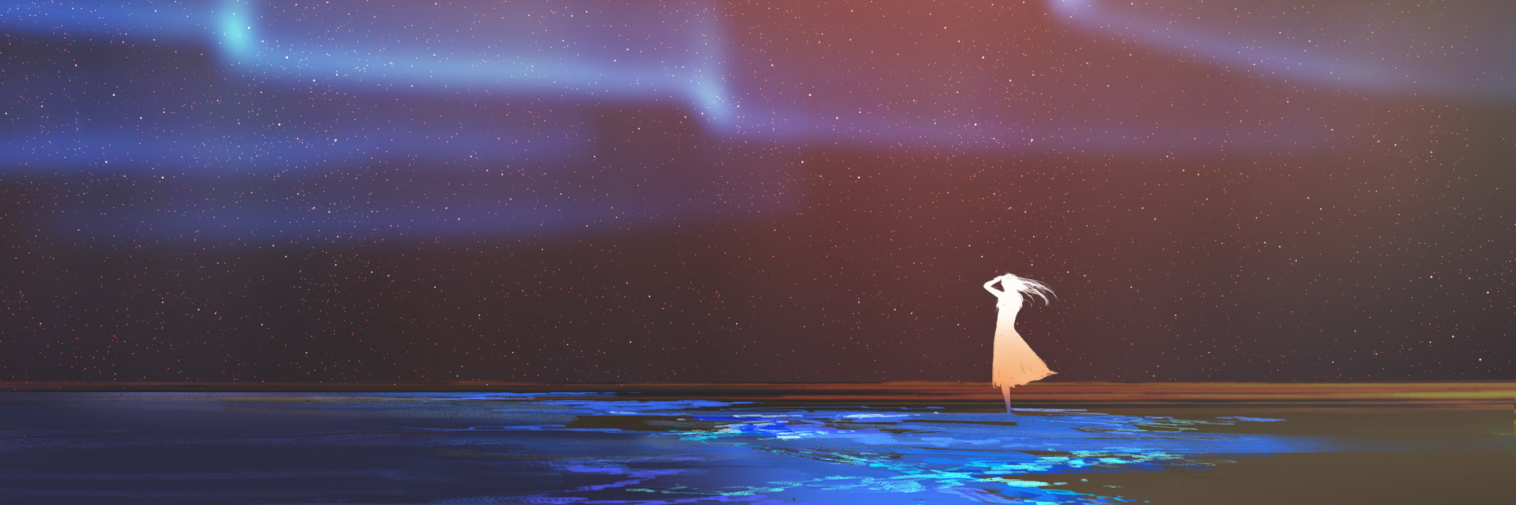 illustration of a woman standing by the ocean under the northern lights
