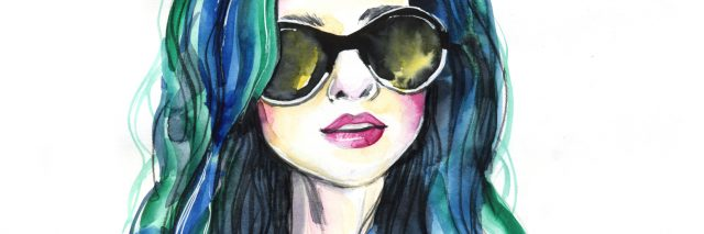 watercolor painting of woman with sunglasses