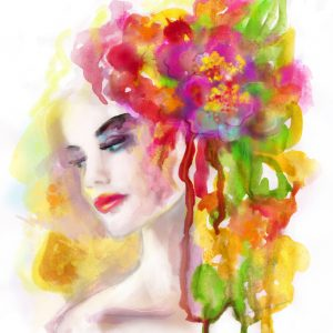 watercolor painting of a woman with colorful flowers in her hair