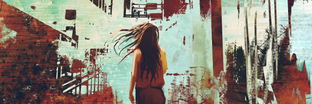 woman standing against abstract achitecture with grunge texture,illustration art