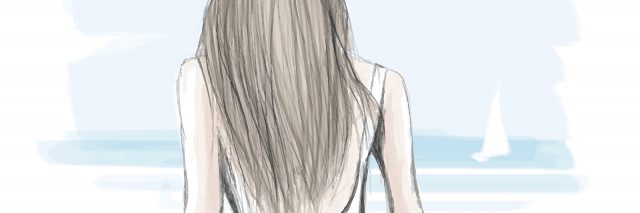 Watercolor representation of a young elegant woman walking on a beach - vector illustration