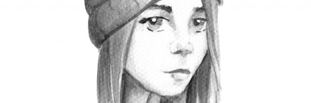 black and white painting of a girl in a hat looking sad