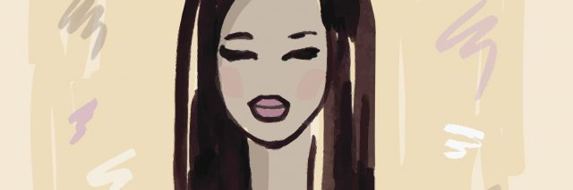 illustration of a woman in a purple tank top