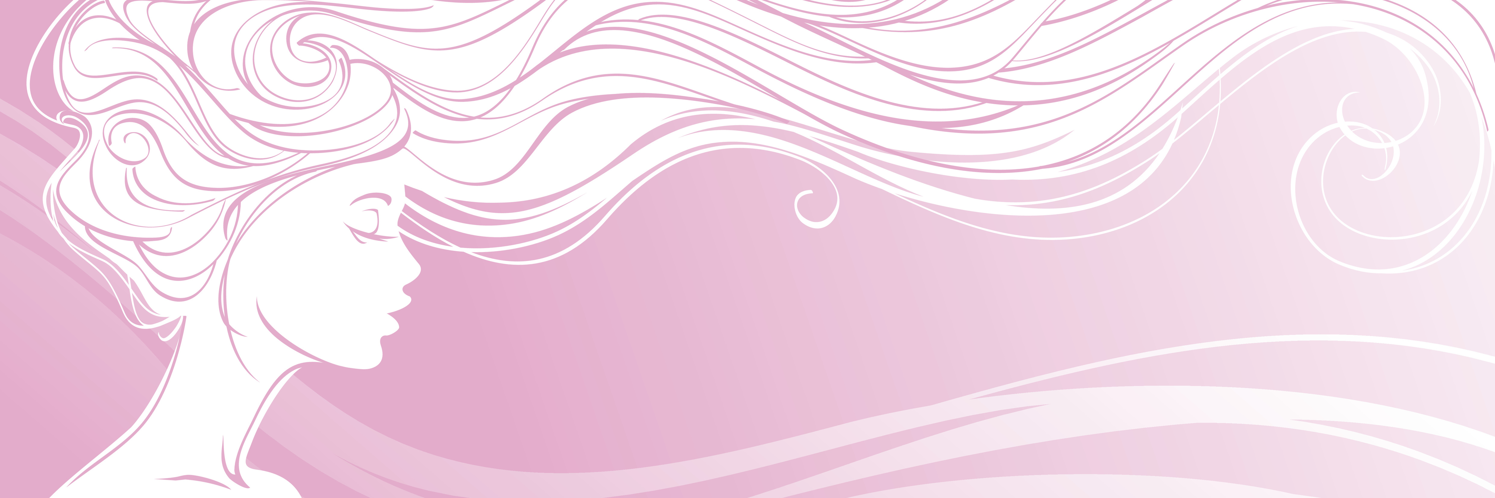 drawing of woman with flowing hair on pink background