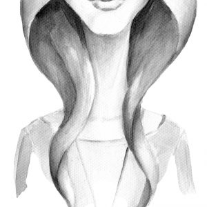 black and white painting of a woman smiling