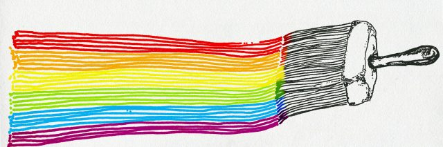 LGBT flag, artistic illustration, pen, ink ant watercolour drawing on paper, notebook artwork