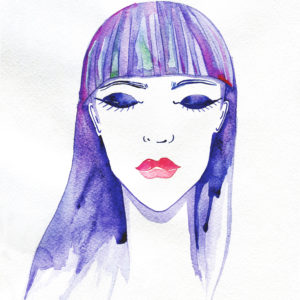 beautiful girl, her eyes closed. watercolor fashion illustration.