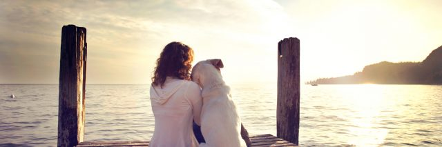 woman and her dog sitting on a pier watching the sunrise