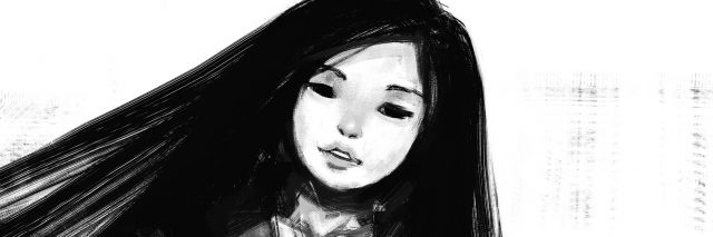A black and white digital painting of a girl.