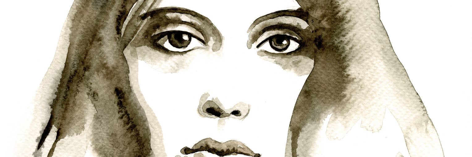 A watercolor painting in brown shades of a womans face.