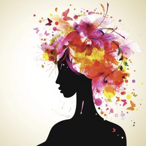 watercolor of woman with colorful flowers around her head