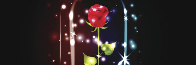A red rose with sparkle under a glass dome on black background