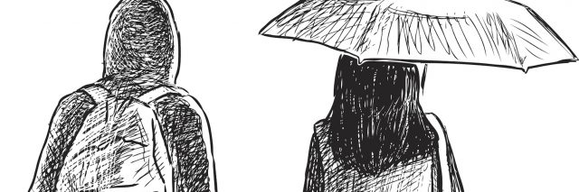 Illustration of two people walking, one wearing a backpack and the other holding an umbrella