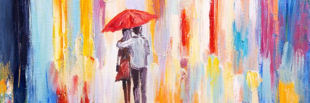 A painting of a woman and a man standing under a umbrella