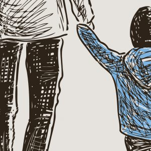 Illustration of parent holding child's hand as they walk together
