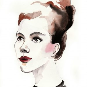 painting of a woman in a black shirt with her hair in a bun