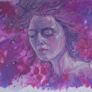 purple and pink painting of a woman