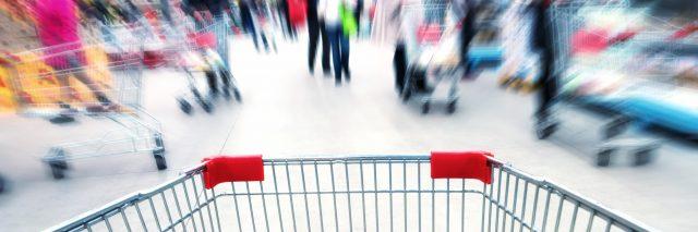 Empty cart in supermarket.