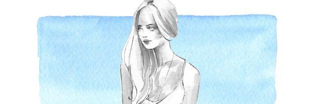Full length girl. Black and white woman on blue background