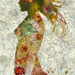 Painting of a double exposure with a woman and a floral layer.