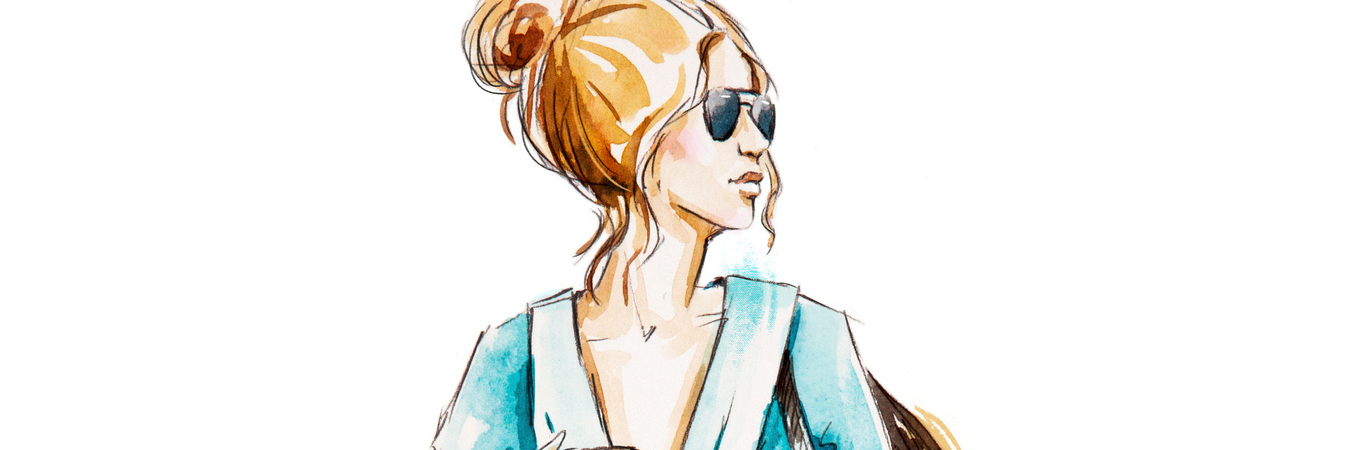 Fashion sketch, hand drawn. Street style. Girl with coffee.