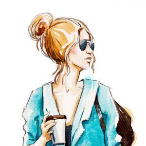 Fashion sketch, hand drawn. Street style. Girl with coffee.
