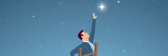 Man on ladder reaching for a star