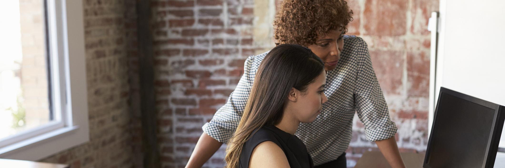 Businesswoman mentoring a student.