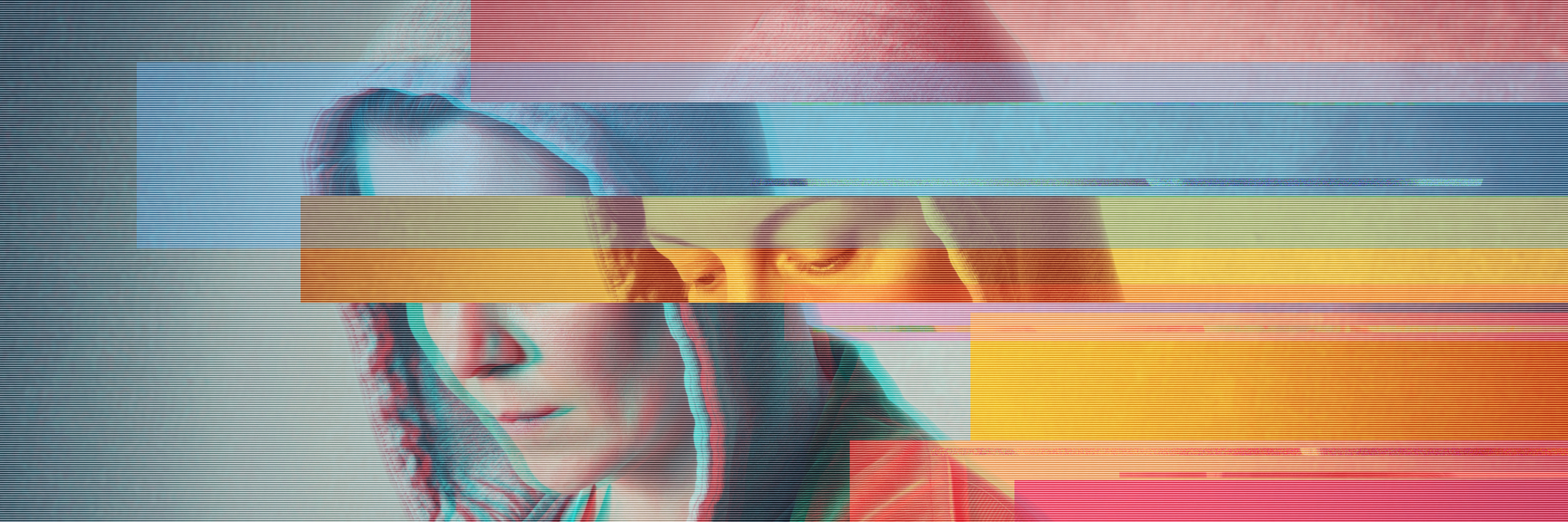 Glitched-style photo, covering a woman.