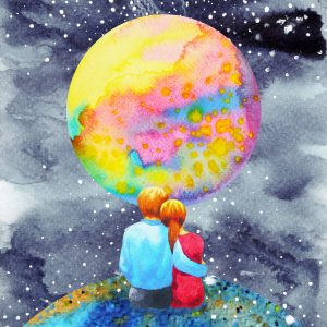 illustration of a couple sitting on the earth and looking at a colorful moon