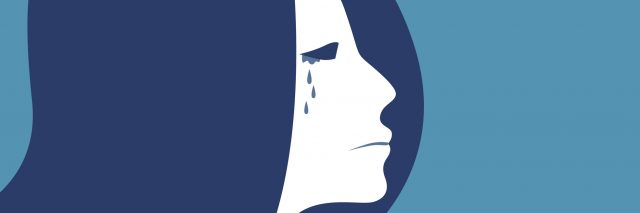 blue drawing of a woman crying