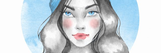 watercolor painting of woman with blue headband