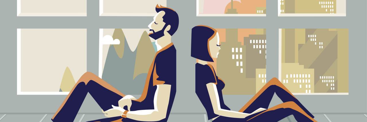 illustration of a couple sitting back to back in front of a window as life goes by
