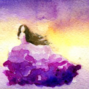 watercolor painting of a woman wearing a purple dress