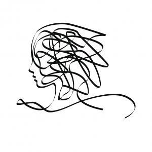 A woman's head created artistically with a scribble look.