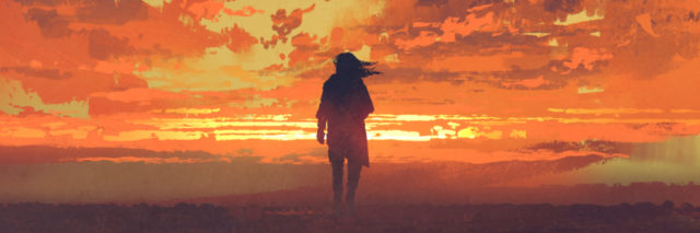 lonely man looking at fiery sunset sky with digital art style, illustration painting