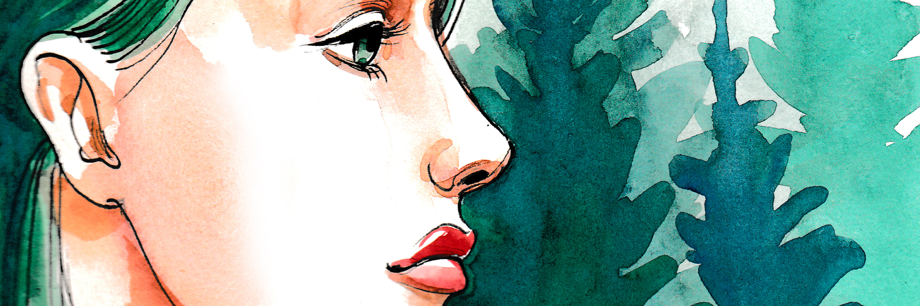 Watercolor painting of a pretty girl with a green hair