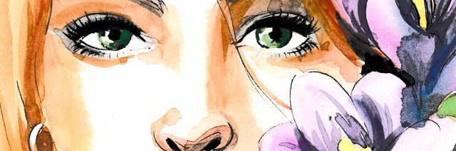 Watercolor painting of a pretty female face and flowers