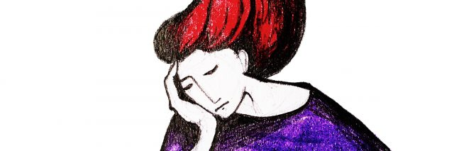 Dreaming redhead girl, hand drawing watercolor illustration,
