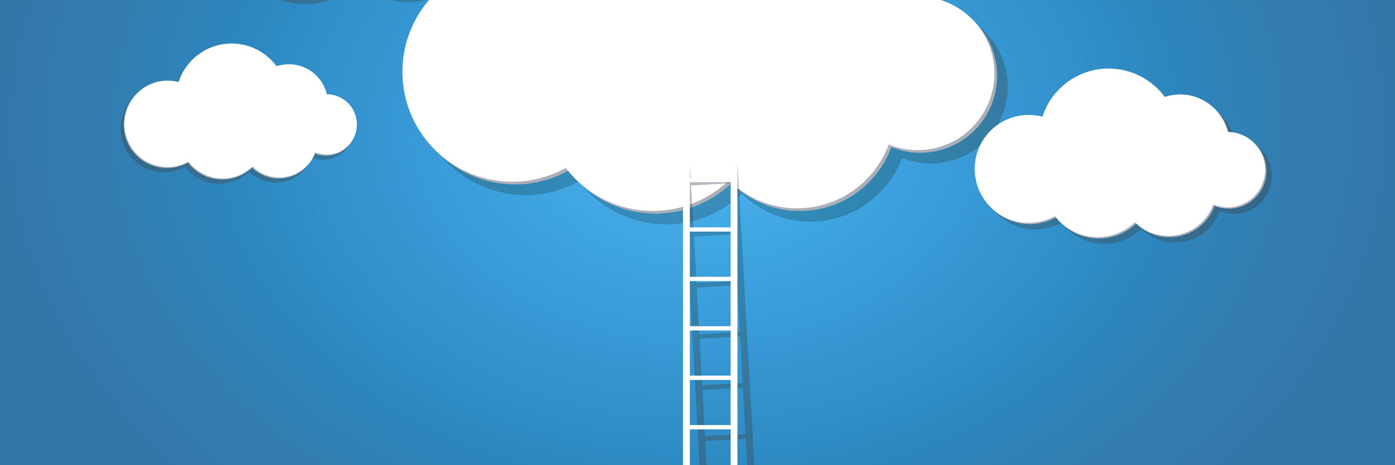 A ladder leading to the clouds on a blue background.