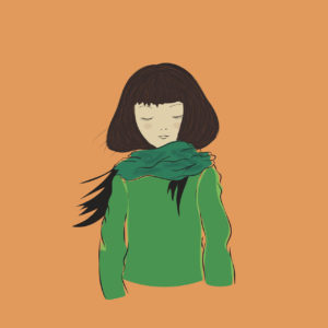illustration of a girl wearing a sweater and a scarf