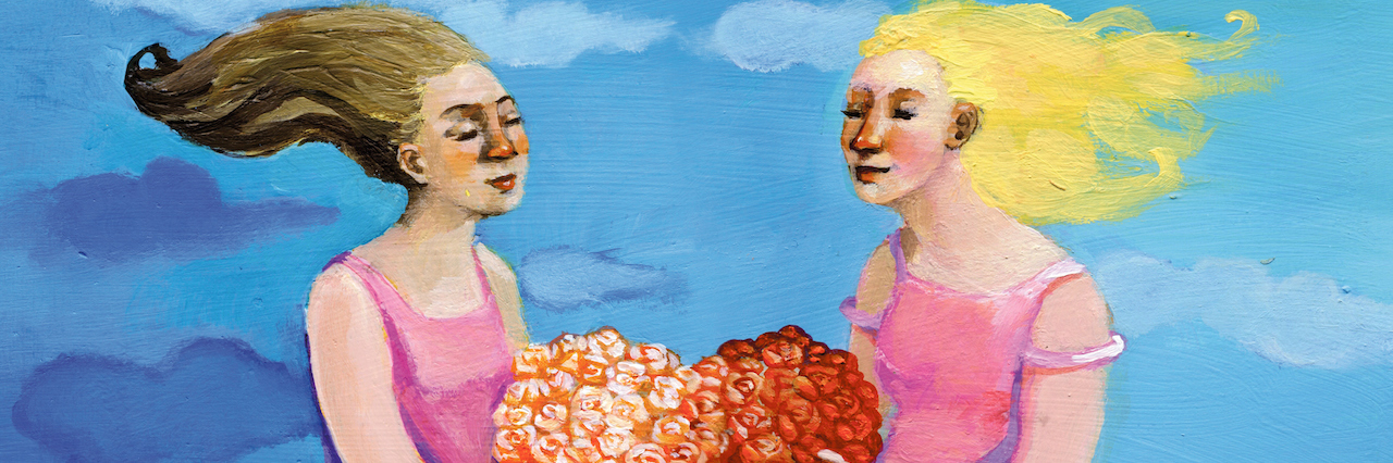 paining of two girls hugging a heart-shaped plant made of roses