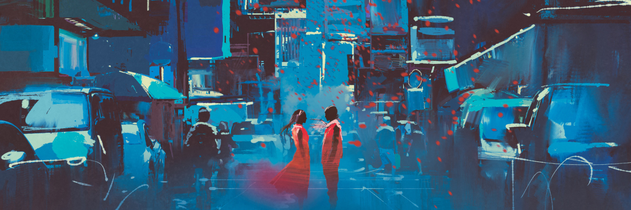 man and woman in red standing in blue city with digital art style, illustration painting