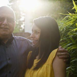 portrait of hispanic girl and dad