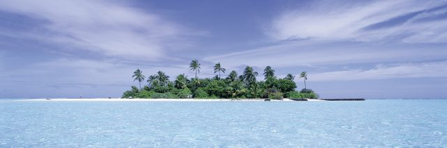Island in the ocean.