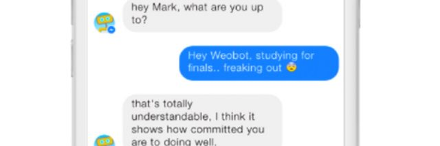 Screengrab showing a conversation between a user and Woebot