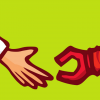 cartoon of doctor hand reaching out to meet a robot hand