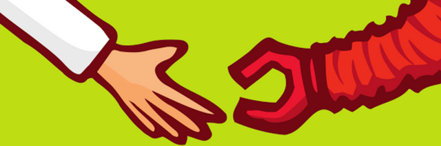 cartoon of doctor hand reaching out to meet a robot hand